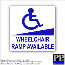1 x Wheelchair Ramp Available Sticker-Disability-External Car,Vehicle,Notice,Sign
